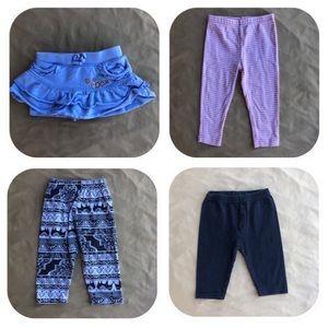 3 Pants & 1 Skirt Bundle Girls 12 Months